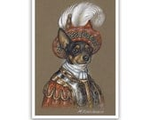 Rat Terrier Art Print - the King - Dogs in Clothes, Terrier Prints - Pet Kingdom by Maria Pishvanova