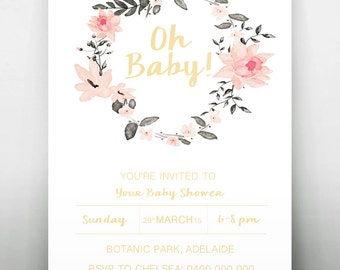 Oh Baby Shower Printable Invitation