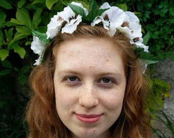 Green and White Flower Crown