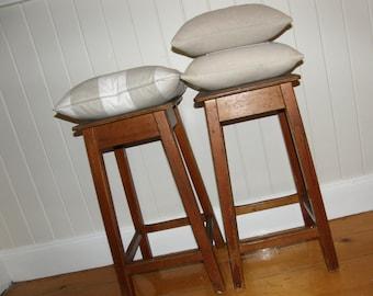 vintage stools / set of 2 wooden stools / set of 2 wood stools / stools