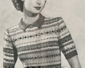 Vintage Knitting Pattern Lady's 1940s Fair Isle Jumper. Short Sleeves.