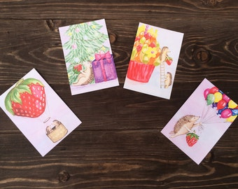 "Set of postcards ""Fruity Hedgehogs"""