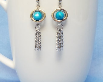 Aqua shell and silver loop and silver chain earrings, silver earrings, dangle, loop earrings, turquoise shell, shell, chain, multi strand