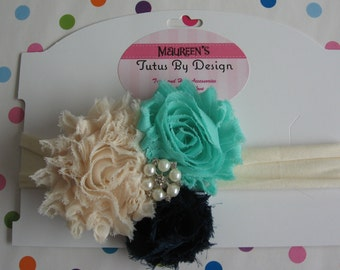 Shabby Bow,Ivory Fabric Headband,Flowers,Aqua,Ivory,Navy Blue,Infant,Baby,Pearl,Crystal,Embellishment,Baby Shower,Birthday, Christening,