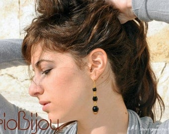 Long Black and Gold Earring