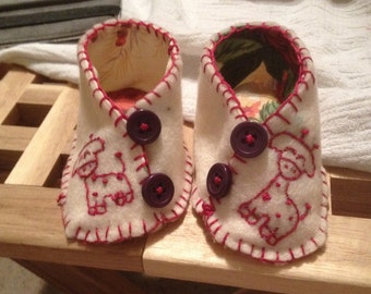Handmade, fully-lined, embroidered felt booties. Completely made to order.