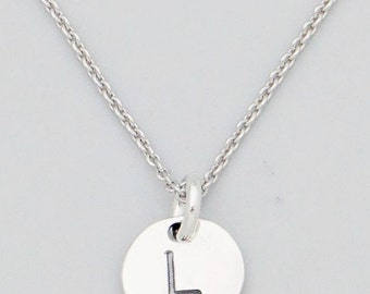 Dainty Delicate Sterling Silver Minimalist 8mm Disc Letter L Initial Necklace