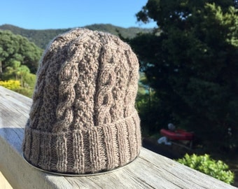 Merino Wool Cable Knit Baby Beanie