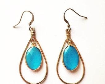 Gemme Blue Topaz Teardrop Earrings