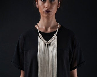 ARTEMIS NECKLACE- Cream white long simple fringe necklace/ one of a kind/ statement necklace/ macrame fringe/ luxury festival neckpiece