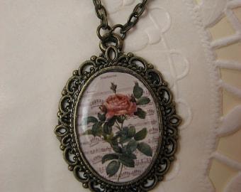 Rose pendant – Retro necklace - Vintage Rose pendant - Vintage style pendant – Floral necklace - Flower pendant - Flower jewelry (P010)
