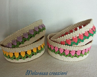 Starched crochet etsy - Cestini all uncinetto per il bagno ...