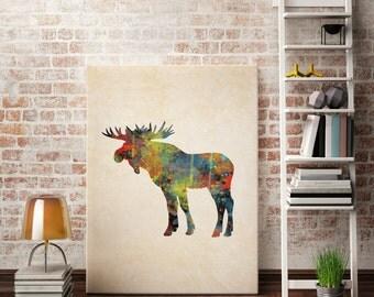 Digital Art Print Moose Print  Printable Moose Art Moose Head Moose Antlers Watercolor Prints Nursery Prints