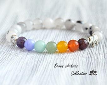8mm Seven Chakra Bracelet - Gift for her - Yoga Jewelry - Mala Bracelet - Yoga Bracelet - Gemstone Bracelet - Mala beads - Beaded bracelet