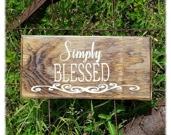 """Wooden """"Simply Blessed"""" Sign"""