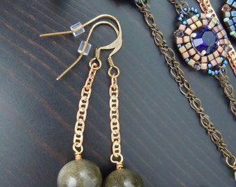 Obsidian velvet and chain dangling earrings in brass