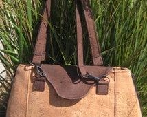 Cork Fabric Handbag, custom, one of a kind, unque, no two alike, designer, tan, brown, expandable, washable cork, sewn