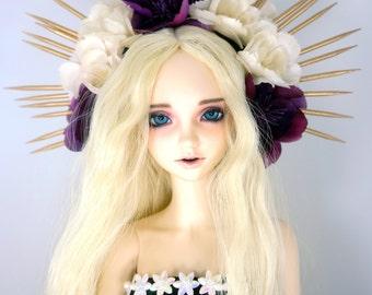1/3 SD BJD dark violet & ivory sunburst flower headpiece