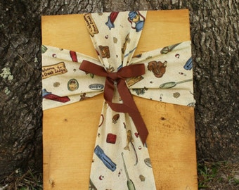 Cross/Fabric Cross/Fabric Cross on Wood Plaque/Brown Fabric Cross/ Cross Wall Hanging