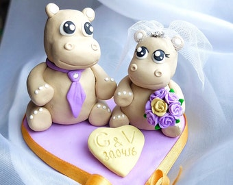 Hippo couple wedding cake toppers