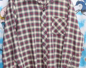 Vintage 1970s 1980s MWG Country Western Plaid Cowboy Rockabilly Shirt