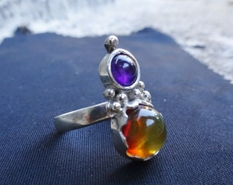 sterling silver ring amber and amethyst, amber ring, amethyst ring, natural stones ring, sterling silver ring with stone