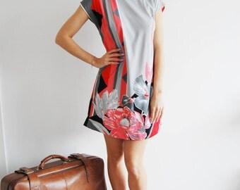 Vintage Floral Mini Dress - UK 12/14
