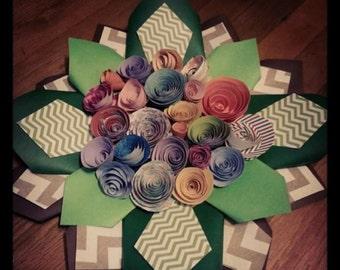Handmade paper wreaths.