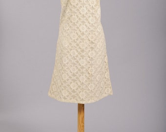 1960 Linen Lace Vintage Wedding Dress