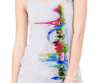 Watercolor image of European cities landmarks printed on a athletic gray Flowy Tank Top