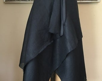 THE Linen Wrap Skirt - Black