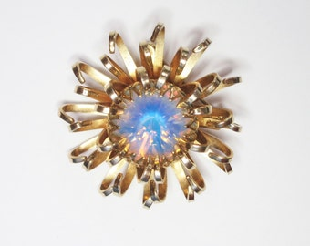 Vintage Brooch Sarah Coventry Mystic Opal Rhinestone Rivoli Gold Tone, Signed, Round Light Blue Moonstone; Spider Mum Flower Pin (D606)