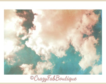 Cloud Print, Printable Pink and Aqua Cloud Art, Cloud Decor, Instant Digital Download, Aqua Turqoise Blue Pink Decor, Cloud Art