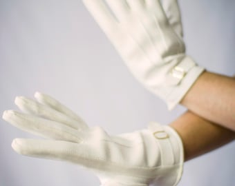 Vintage Faux Leather White Gloves with Gold Buckle