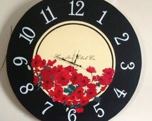 Clock, Oversized Clock, Giant Clock, Flower Clock, French Country Clock, Poppies,Hand Painted