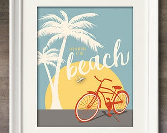 Vintage Beach Cruiser Print, Beach Bicycle Instant Download, Digital Art Print, Great Last Minute Gift!