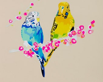 Loving Budgies limited edition signed giclee fine art print