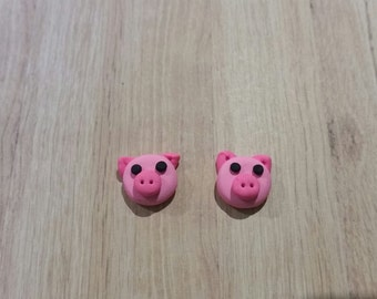Pink Pig stud earrings - polymer clay