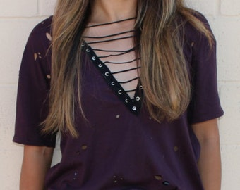 SOLD OUT* Deep Purple Lace up Tee (now made to order)