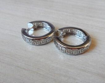 Greek Key Hoop Earrings 925 Sterling Silver