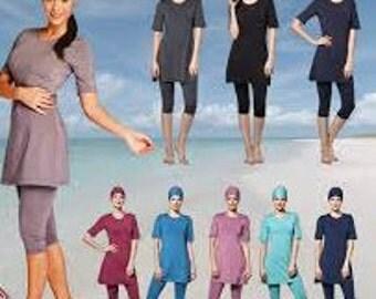 Ladies Modest Islamic Swimwear Top, Pants & Hat Black/  Navy/ Pink/ Brown/ Duck Egg Green Sizes S/ M/ L/ XL/ XXL