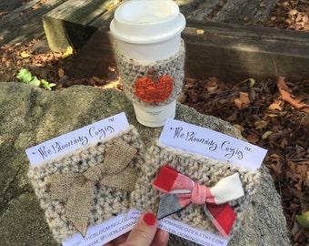 Coffee Cozy - Coffee Sleeve - Coffee Cup Cozy - Cup Sleeve - Eco Friendly - Crochet Cozy - Starbucks Coffee To Go - Fall Pumpkin - Cozies