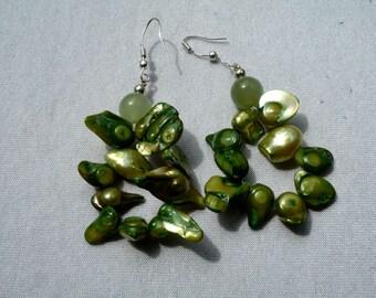 Earrings aventurine and Pearl