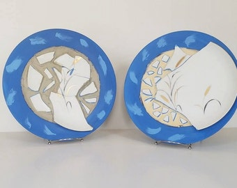 Two Piece Salvaged Art Plate Set