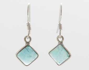 Apatite Tile 925 Silver Earrings - Apatite Earrings - Handmade Jewellery - Dangle & Drop Earrings - Gemstone Earrings