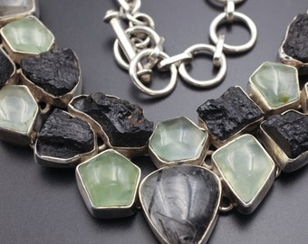 UNREAL Sterling Silver Prehnite Rutilated Quartz & Tectite Cluster Necklace