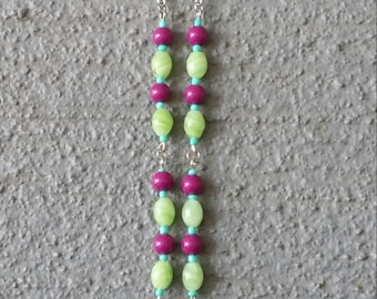 Green Pink and Turquoise Tree Necklace