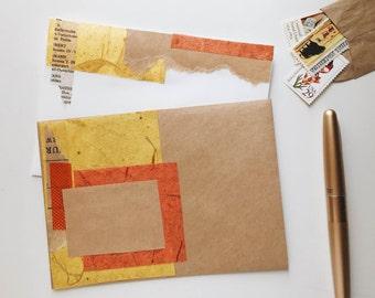 Handmade Stationery Set + Vintage Stamp Pack (Orange)