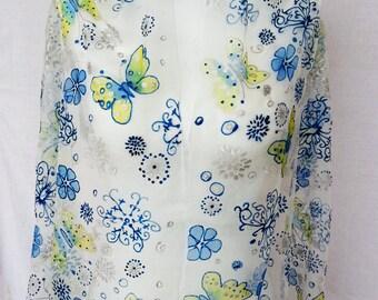 Blue Silk Scarf  handpainted Silk Scarf blue  , Hand painted silk scarf,  silk Scarf, blue  silk, silkscarvesparis