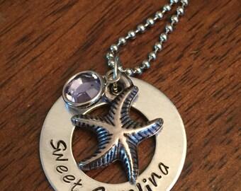 "hand stamped ""Sweet Carolina"" necklace, starfish necklace, birthstone necklace, Swarovski crystal necklace, personalized beach necklace"